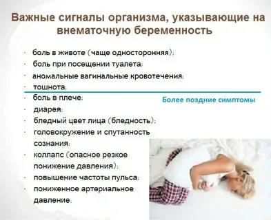 Какие симптомы при внематочной беременности